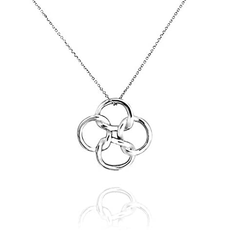 Celtic Open Clover Knot Pendant Necklace 925 Silver 18in