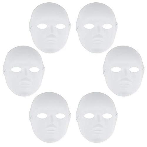 asken, DIY-Maske DIY-Weißbuchmaske Zellstoff Leere handgemalte Maske Persönlichkeit Kreatives freies Design Halloween-Maske Karneval-Maske / 6er-Pack ()