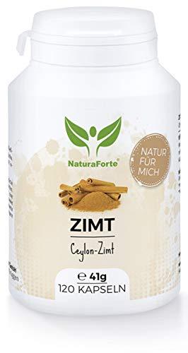 NaturaForte Zimt Kapseln 120 Stück, Hochdosiert Ceylon-Zimt 470 mg pro Tag, Vegan, Zimt Pulver schonend gemahlen aus Sri Lanka, Unterstützt Appetit, Verdauung, Magen-Darm, Hergestellt in Deutschland