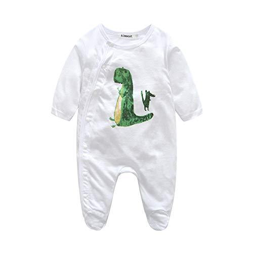 Mornyray Säuglingsbaby-Jungen-Dinosaurier-Spielanzug-Baumwolllanges Hülsen-Outfit Footies Nette Pyjamas (Color : White, Size : 80) Footie Sleeper