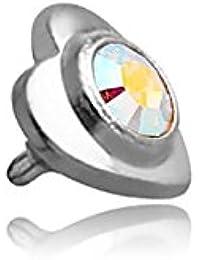 Corazón Acero con pedrería para Micro-Dermal 1.6mm–junco eje 1.6mm, elemento 3.5mm