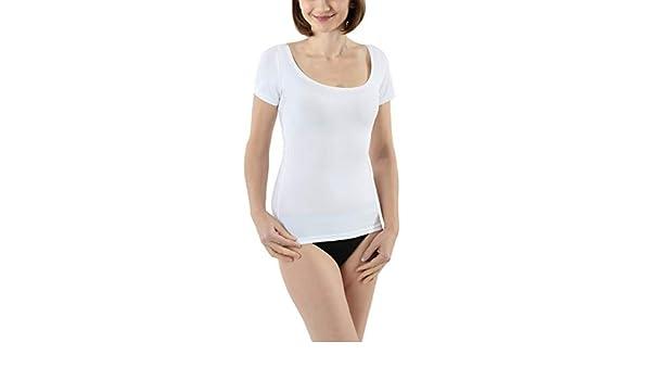 ALBERT KREUZ Maglietta Intima Cotone Elasticizzato Maniche Corte Scollatura Rotonda Molto Larga e Profonda per Spalle Larghe in Bianco