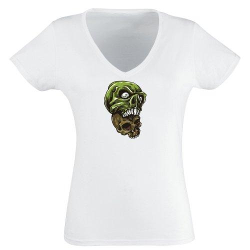 V-T-Shirt - Buddy Skull 20 - Totenkopf - Damen Weiß