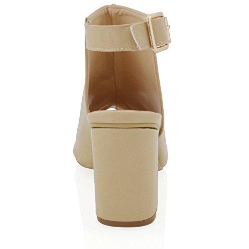 Essex Glam Stivale Donna Sintetico Open Back Peep Toe Cintrurino Caviglia Carne Pelle sintetica