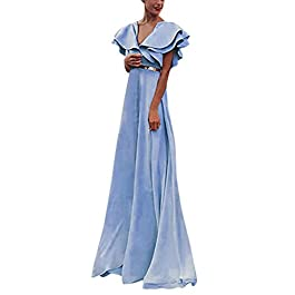 006f52357a4e Vestiti Donna Elegante Donna Retro Eleganti Tinta Unita Lotus Leaf Abito da  Principessa Maxi Lungo Prom ...