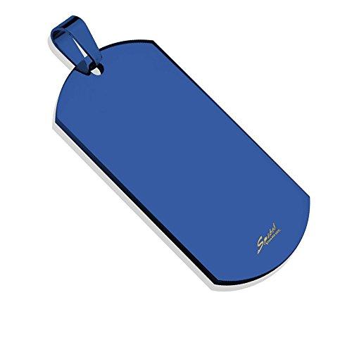 Bungsa® Blaue Erkennungsmarke Gravierbares Dog Tag BLAU ID Platte Edelstahl Männer (Militär Gravur Armee Hundemarke Ketten-Anhänger Pendant Chirurgenstahl Damen Herren)