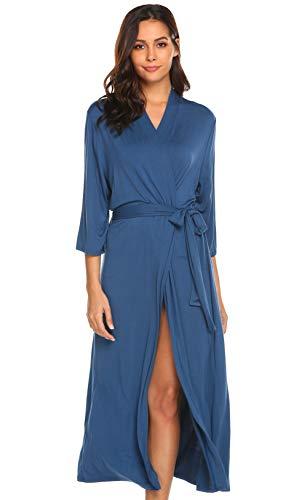 Bademantel Damen Morgenmantel Lang Kimono 3/4 Arm Schlafanzug Sexy Dünn Nachtwäsche Seide V Ausschnitt Nachthemd Umstand Frauen Blau L 42-44 Sleepwear für Schwangere