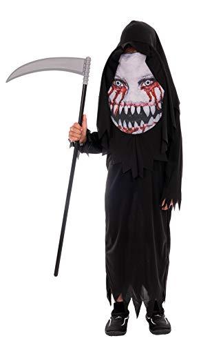 Magicoo Monster Skelett Kostüm Kinder Jungen schwarz inkl. Robe & Kopfteil mit Maske - Gr 110 bis 140 - Halloween Dämon Skelett-Kostüm Kind (134/140)
