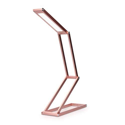 kwmobile LED Aluminium Tischlampe faltbar - Akku Nachttisch Leselampe dimmbar Micro USB Ladekabel - Akku Schreibtischlampe Faltlampe in Rosa