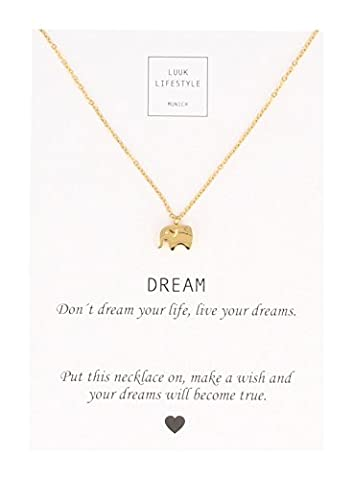 "LUUK LIFESTYLE Women's jewelry, necklace with elephant pendant and card with ""Dream"" saying, lucky charm, gold"