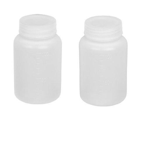 DealMux 2 PC-Labor Doppel Cap Leakproof Plastic Bottle Widemouth Weiß 100 ml (Weiß Bottle Caps)