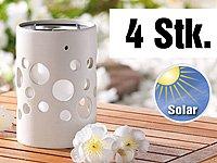 """Lunartec Solar-LED-Leuchte """"Zylinder"""" aus edlem Ton, weiß, 4er-Set von Lunartec auf Lampenhans.de"""