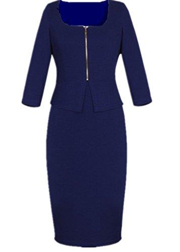Smile YKK Robe Bleu Marine Femme Coton Manche Courte Soirée Cocktail Automne Printemps Elégante Bleu Foncé
