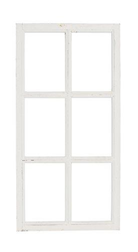 Deko-Fensterrahmen Holz- Rahmen Fenster-Attrappe Holz shabby weiss gewischt Vintage