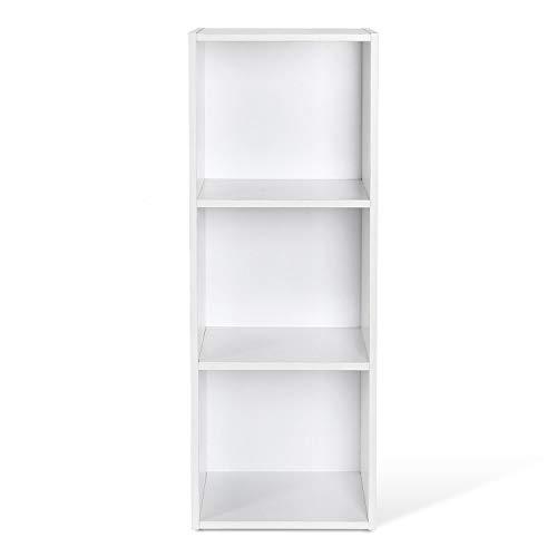 HOMFA Landhaus Bücherregal Bücherschrank 3 Nischen Standregal Aktenregal Bücher Regal Akten Schrank Universal Regal Weiß (Weiß 3 Nischen) -