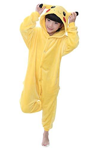YAOMEI Kinder Unisex Jumpsuits, 2018 Kostüm Tier Onesie Nachthemd Schlafanzug Kapuzenpullover Nachtwäsche Cosplay Kigurum Fastnachtskostuem Weihnachten Halloween (130-140CM(51''-55''), Pikachu)