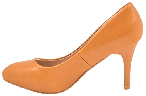 Elara Damen Pumps | Stiletto High Heels | Lederoptik Abendschuh Camel