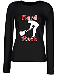 T-Shirt para Las Mujeres Manga Larga Negra T0205 Hard Rock Fun Cool Geek