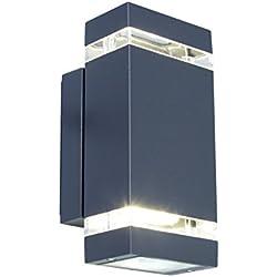 Eco Light Moderne LED-Außenwandleuchte Focus, 300 lm, 7,6 W, zweiflammig, IP44, anthrazit 6050 GR LED