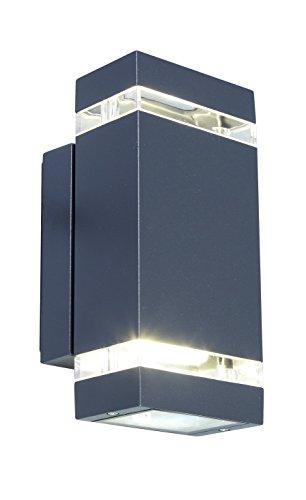 Eco Light moderne LED-Außenwandleuchte Focus, starke 7,6 Watt LED-Power, zweiflammig, anthrazitfarben 6050 GR, eckiges Design perfekt geeignet zur problemlosen Anbringung an Ihrer Hauswand. -