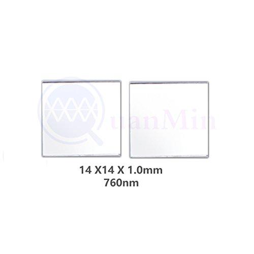 Quanmin 2 stücke / 1 Los 14mm×14mm ×1,0mm Infrarot Hohe Durchlässigkeitsfilter 760nm Quadratische Optische Schmale Longpass Filter Für Sichtbare Licht Reflektor