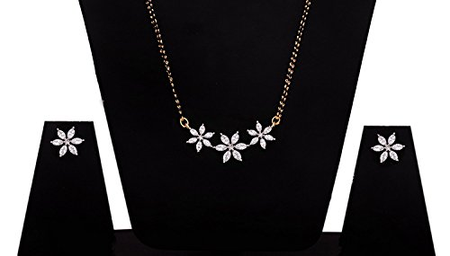 YouBella Jewellery Gold Plated American Diamond Mangalsutra for women latest design Pendant Necklace for women traditional with Chain and Earrings For Girls And Women