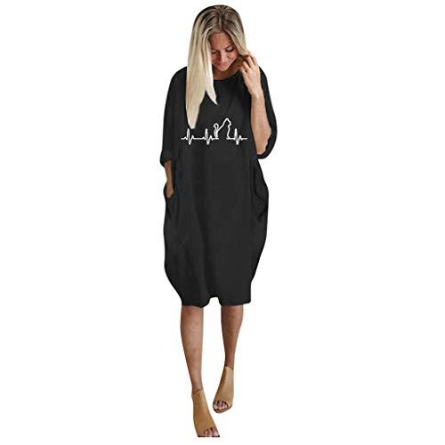CEFGR Robe De Poche Imprimée Chat à Grande Taille Et à Manches Longues pour Femmes Pullover Couleur Unie T-Shirt en Vrac(3-Noir,EU-42/CN-XL)