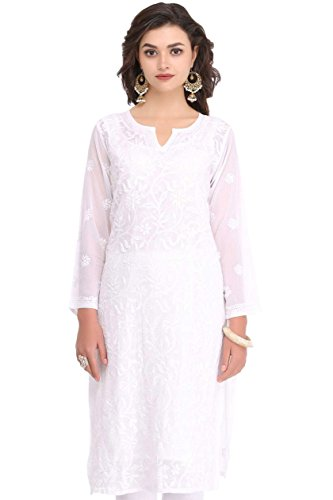 ADA Lucknowi Chikan Hand Embroidered Regular Fit Casual Women's Kurta A90397 (White)...