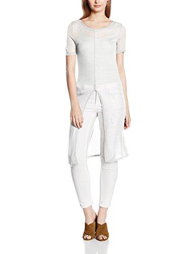 Only Damen T-Shirt Onljano S/S Long Slit Top JRS, Weiß (Cloud Dancer), 38 (Herstellergröße: M) (Vorne-baumwolle Schlitz Top)