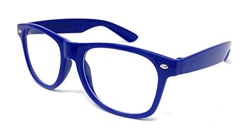 Clear Lens Wayfarer Stil Fancy Kleid Gläser–Geek Nerd Retro Hipster Sexy Schulmädchen Outfit Vintage blau Einheitsgröße (Geeks Und Nerds Fancy Dress)