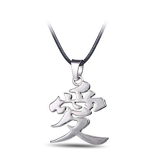 Kinder Gaara Kostüm - Anime Naruto Metall Halskette Gaara Gourd Liebe Logo Anhänger Cosplay Zubehör Schmuck