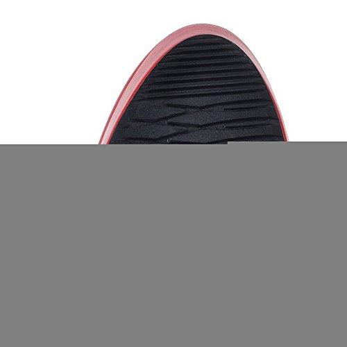 VogueZone009 Donna Punta Chiusa Piattaforma Bassa Altezza Puro Stivali Rosso