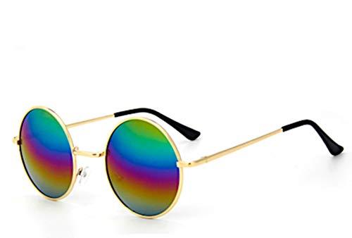 CHICNET Hochwertige Damen Herren Sonnenbrille Rundglas Hippie John-Lennon Brille 400UV rund, runde Gläser, langer Steg, aus Metall und Acryl, verspiegelt und getönt (Regenbogen)