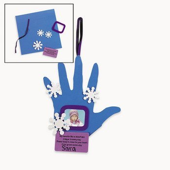 Set of 12 Handprint Snowflake Photo Frame Ornament Craft Kit Crafts for Kids and Photo Crafts by Oriental Trading Company -