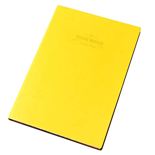 LH'stores Notiz Notebook aus weichem Leder Notizblock Verdickung Arbeitstreffen Männer und Frauen Büro Rekordbuch 112 Seiten Blankobücher (Color : Yellow, Größe : 14.8 * 21cm)