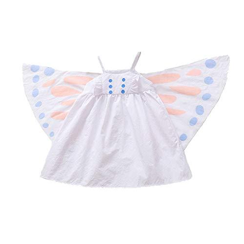 Idee Jersey Kostüm Girl - Lazzboy Sommer Kleinkind Baby Mädchen ärmellose Schmetterling Print Kleid Cosplay Kleidung Spielanzug(Weiß,Höhe:90)