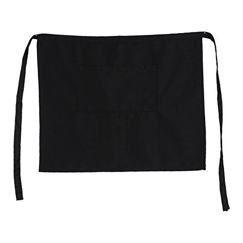 Universal Unisex Schwarz Baumwolle halb Taille kurz Schürzen für Home Kitchen Pub Cafe Restaurant Bistro Craft Garten Kellner Kellnerin -