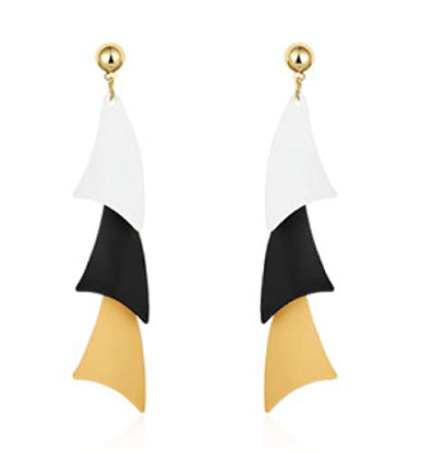 DAGE Adatto orecchini tondi geometrici a contrasto con nappe a faccia tonda orecchini lunghi femminili orecchini orecchini a sezione lunga