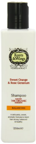 Roots and Wings Organic Balancing Sweet Orange and Rose Geranium Shampoo 250ml
