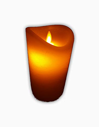 2 Stück LED Kerze m. beweglicher Flamme u. Timer 10 x 7,5 cm Flackerkerze Flackerlicht