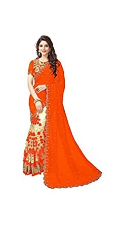 Purvi Fashion Women's Georgette and Net Embroidered Saree with Blouse Piece - ISUNSA1934, Orange, Free Size
