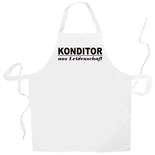 ShirtShop-Saar Konditor aus Leidenschaft; Grillschürze weiß (Kochen, Grillen, Backen) (Leidenschaft Für Das Backen)