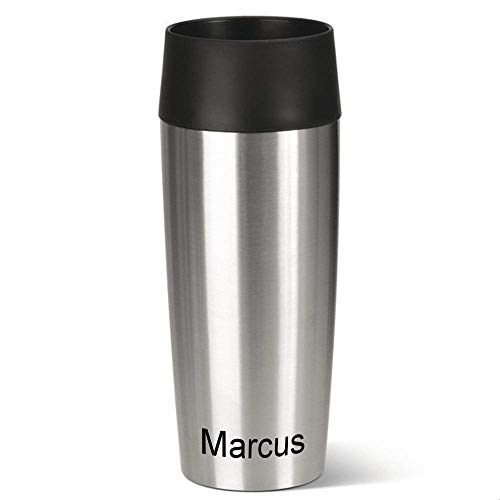 Emsa Isolierbecher MIT Gravur (z.B. Namen) 360ml TRAVEL Mug Edelstahl mit persönlicher Rundgravur, Travelmug Kaffee & Tee Thermo to-go-Becher mit Quick Press Verschluss 100{151cd8cf20f14ae1e9be4674ad62ce63b79acf66359328a7c8c0cd7deb3f5e88} auslaufsicher