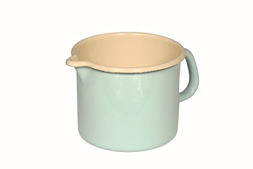 Riess Milchtopf, Schnabeltopf aus Email, 1,7 Liter, Ø 14 cm, H 12,5cm, hellblau