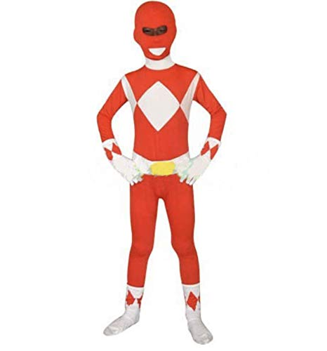 FYBR Kids Red Power Ranger SuperSkin Kostüm - Kinder Unisex Jungen & Mädchen Einteiler, Mighty Morphin Zentai Animal Cosplay Outfit Halloween Kleidung Lycra Spandex - L (Halloween-kostüm Power Ranger)