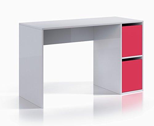 13Casa Hesse A3 - Scrivania Melamina, Bianco e Rosa, 52x120x73 cm