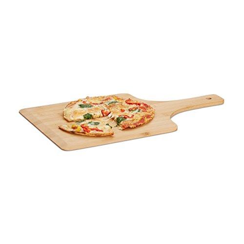Relaxdays Pizzaschieber Bambus, 50 x 30 cm, als Pizzaschaufel, abgerundete Kanten, mit Griff, Brotschieber, natur