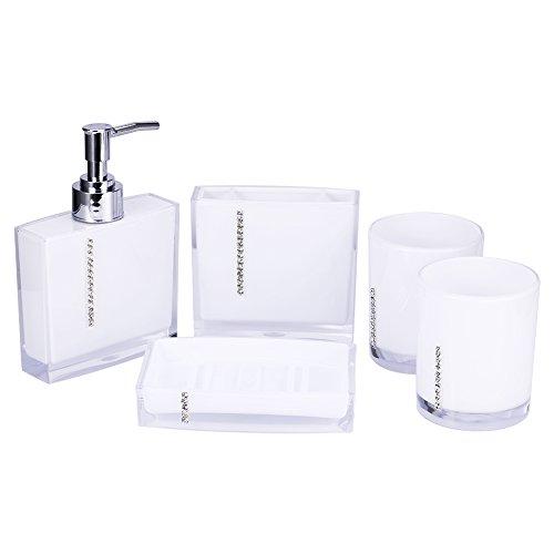 Yosoo 5-Stück Erstklassig Badezimmer Set (aus Hochwertige Acryl mit Diamanten) Bad Accessoire Set Lotion-Flaschen, Zahnbürstenhalter, Zahn-Becher, Seifenschale (Weiß)
