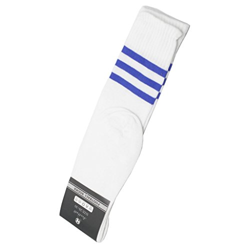 Interesting® 1 paar Fussball Baseball Fußball Basketball über Knie Knöchel Sport Socken für Männer - weiß + blau (Herren-socken Baseball)