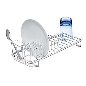 mDesign egouttoir Vaisselle ? Un égouttoir à Vaisselle Aluminium Pratique et Stable ? Accessoire Cuisine Indispensable pour Assiettes, Couverts, etc. ? argenté/Transparent